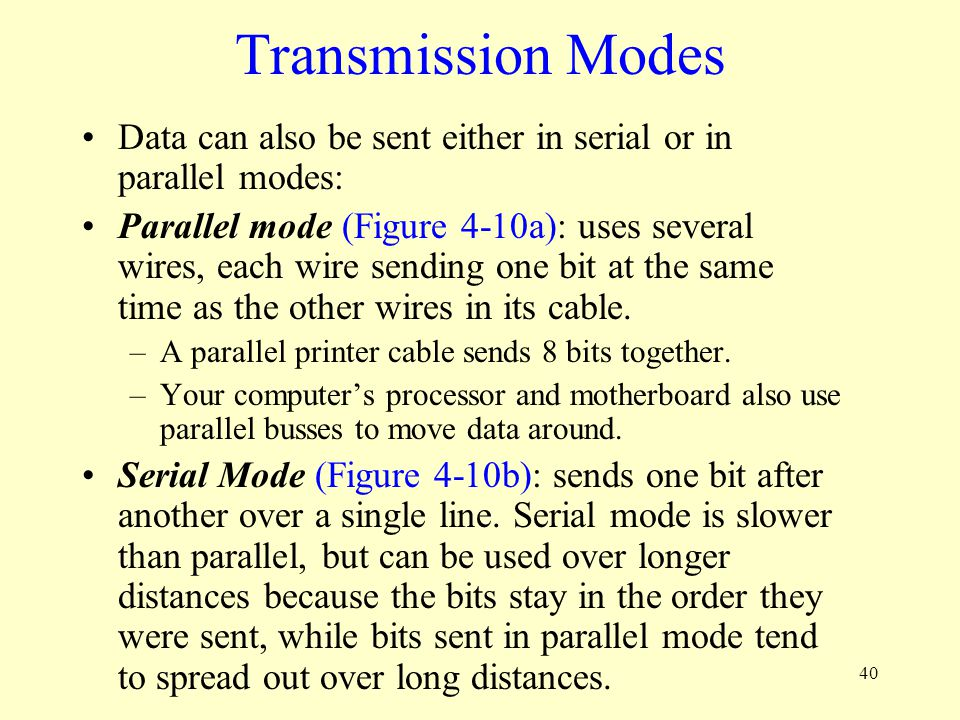 Transmission Modes Data can also be sent either in serial or in parallel modes: