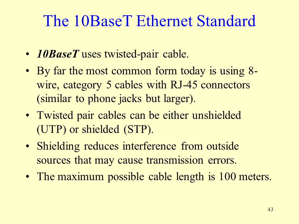 The 10BaseT Ethernet Standard