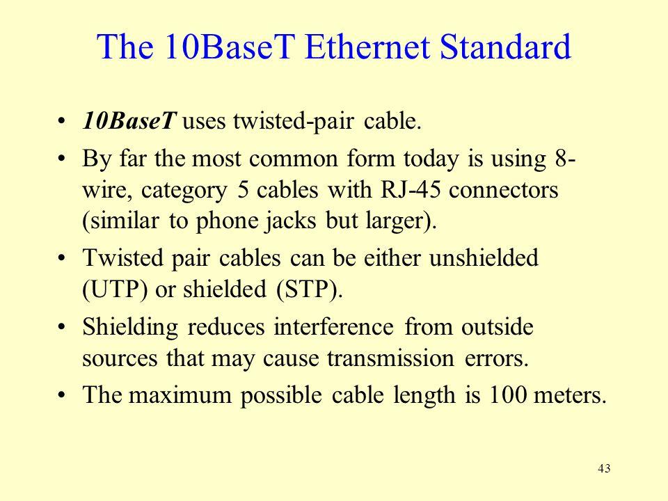 The 10BaseT Ethernet Standard