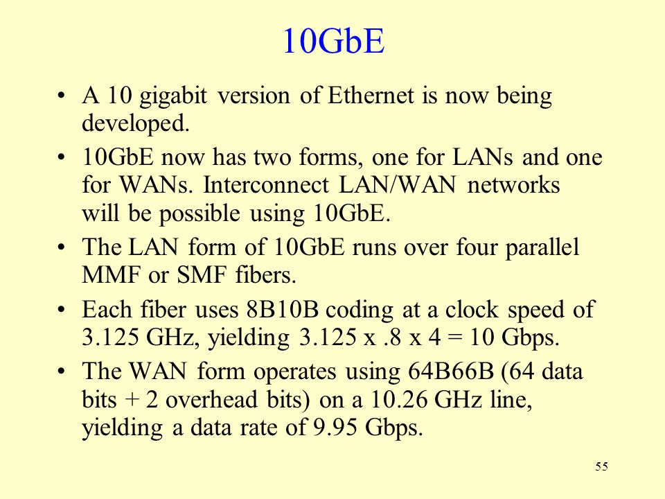 10GbE A 10 gigabit version of Ethernet is now being developed.