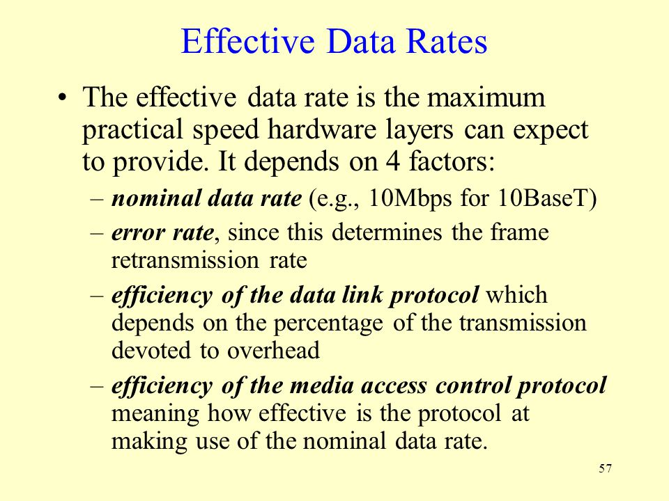 Effective Data Rates The effective data rate is the maximum practical speed hardware layers can expect to provide. It depends on 4 factors: