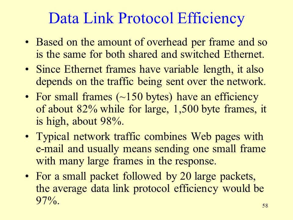 Data Link Protocol Efficiency