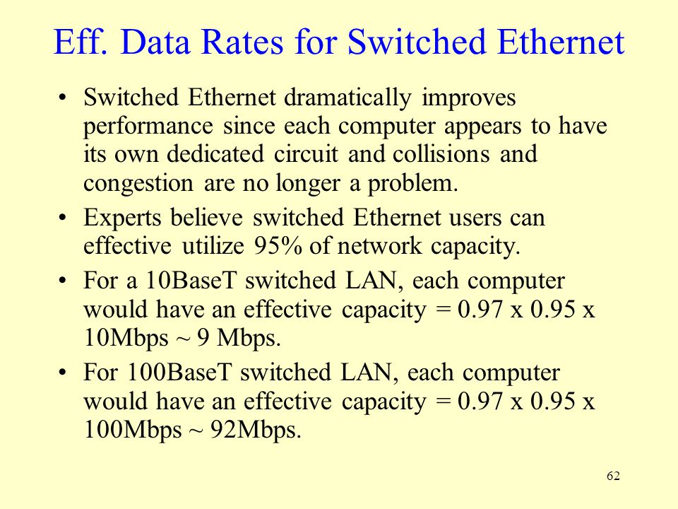 Eff. Data Rates for Switched Ethernet