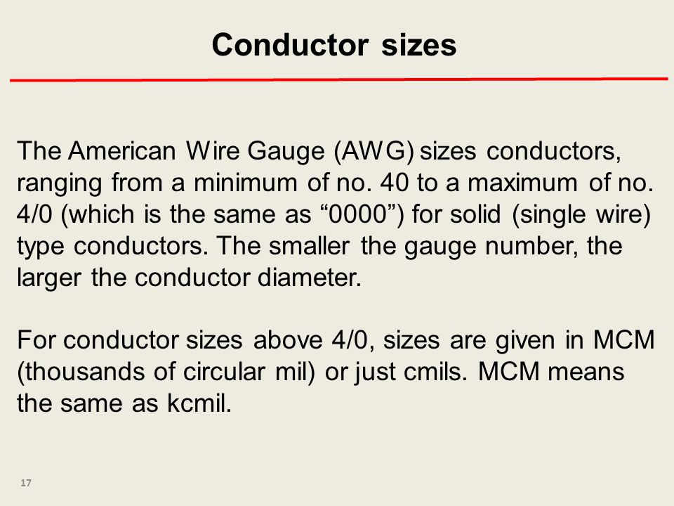 Conductor sizes