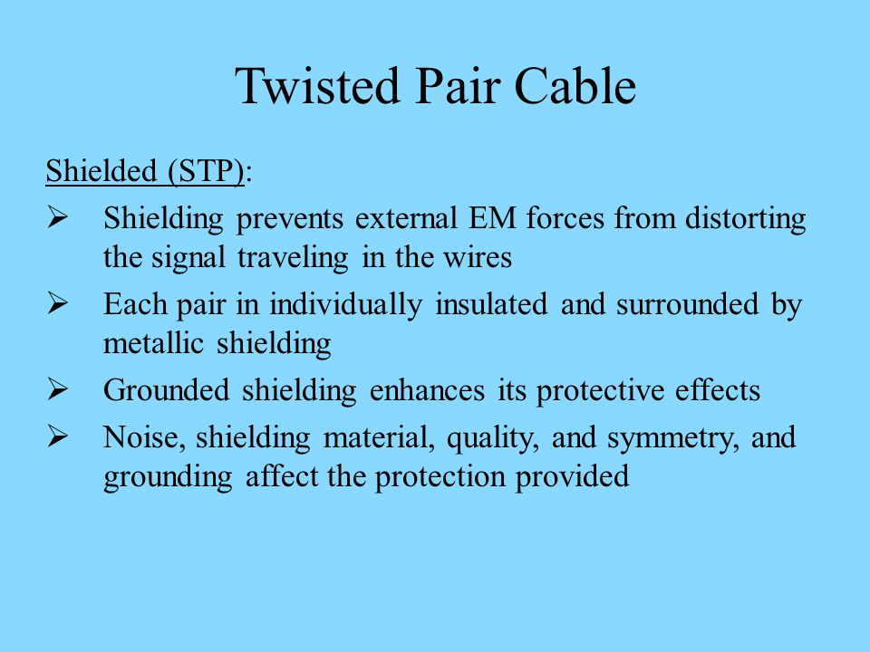 Twisted Pair Cable Shielded (STP):