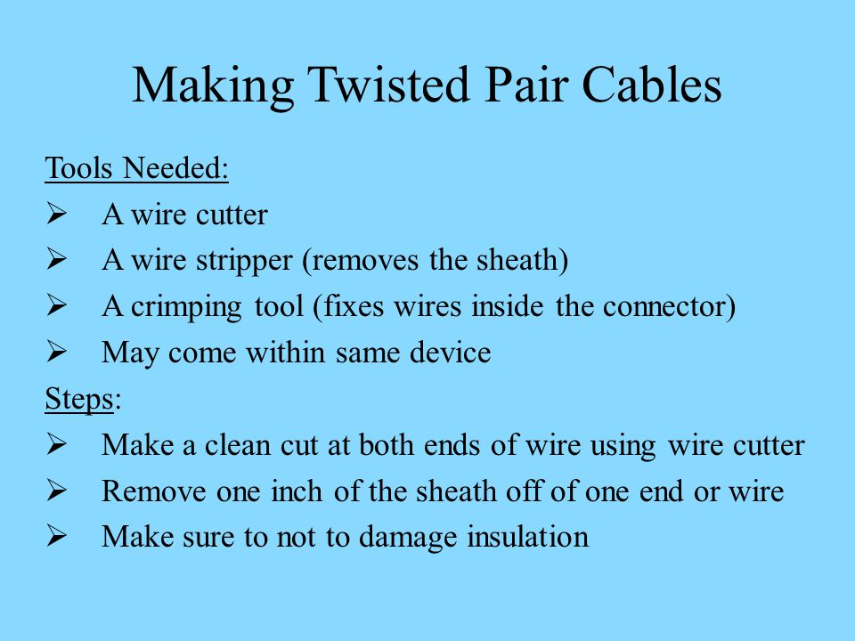 Making Twisted Pair Cables