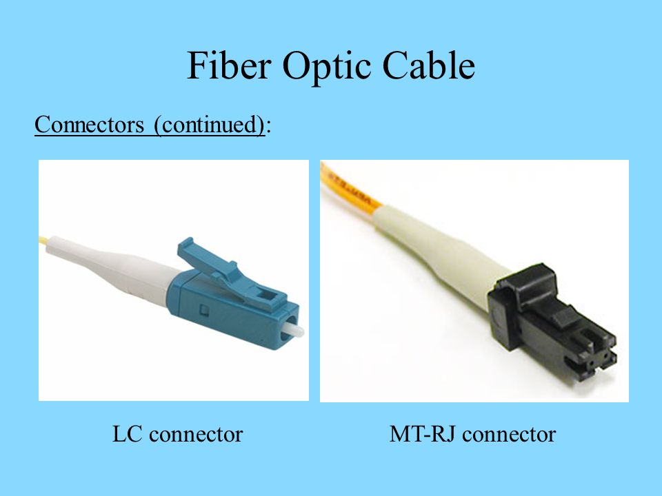 Fiber Optic Cable Connectors (continued): LC connector MT-RJ connector