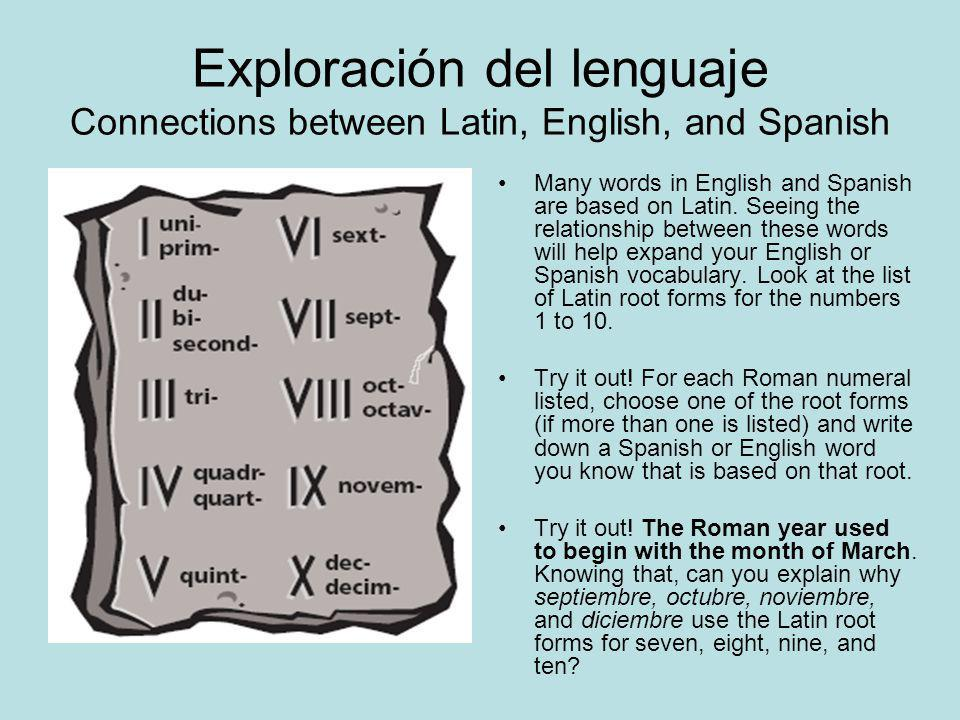 Exploración del lenguaje Connections between Latin, English, and Spanish