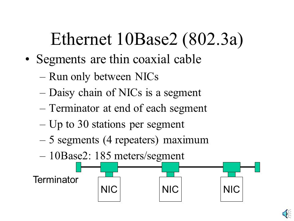 Ethernet 10Base2 (802.3a) Segments are thin coaxial cable