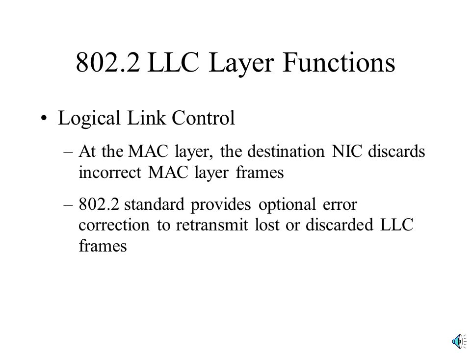 802.2 LLC Layer Functions Logical Link Control
