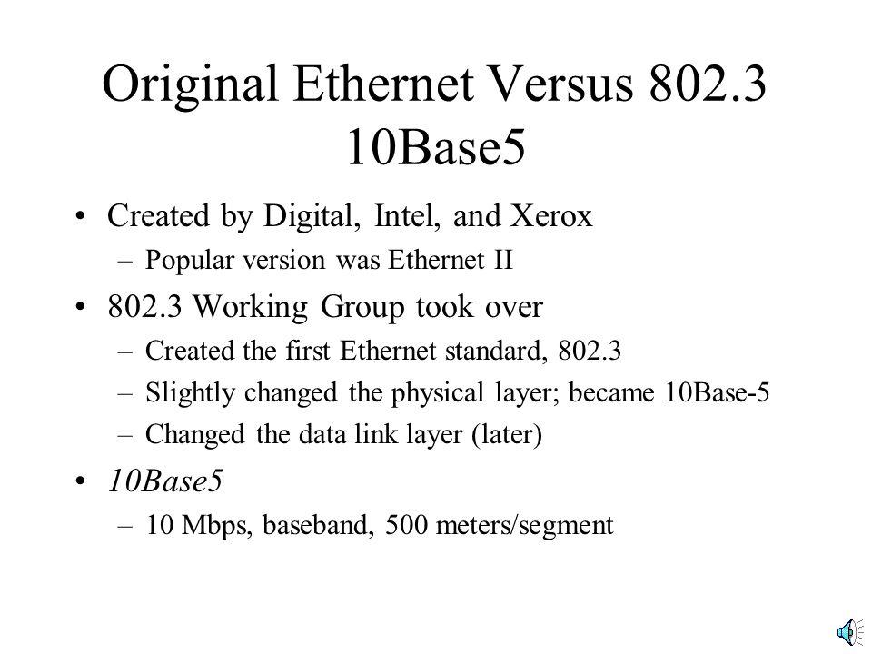Original Ethernet Versus 802.3 10Base5