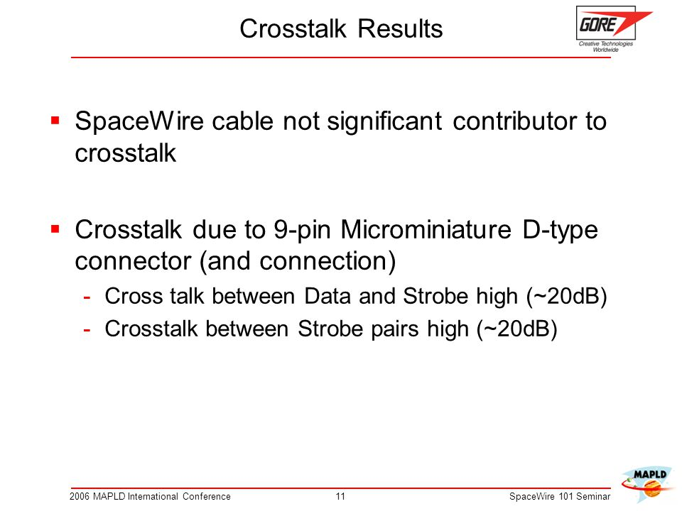 SpaceWire cable not significant contributor to crosstalk
