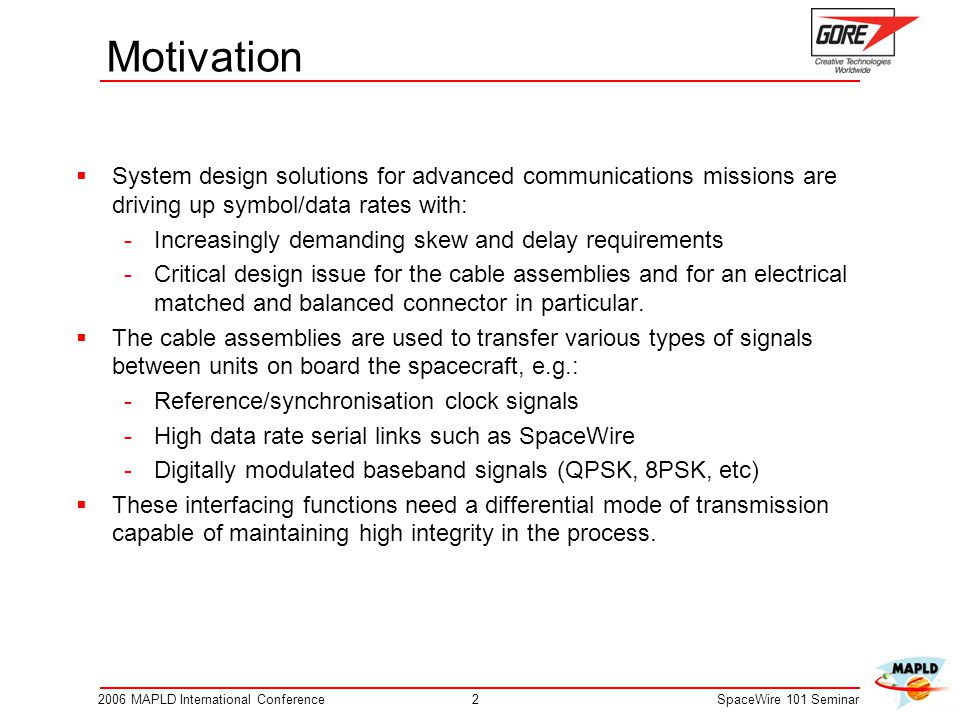 Motivation System design solutions for advanced communications missions are driving up symbol/data rates with: