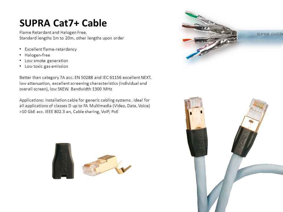 SUPRA Cat7+ Cable Flame Retardant and Halogen Free