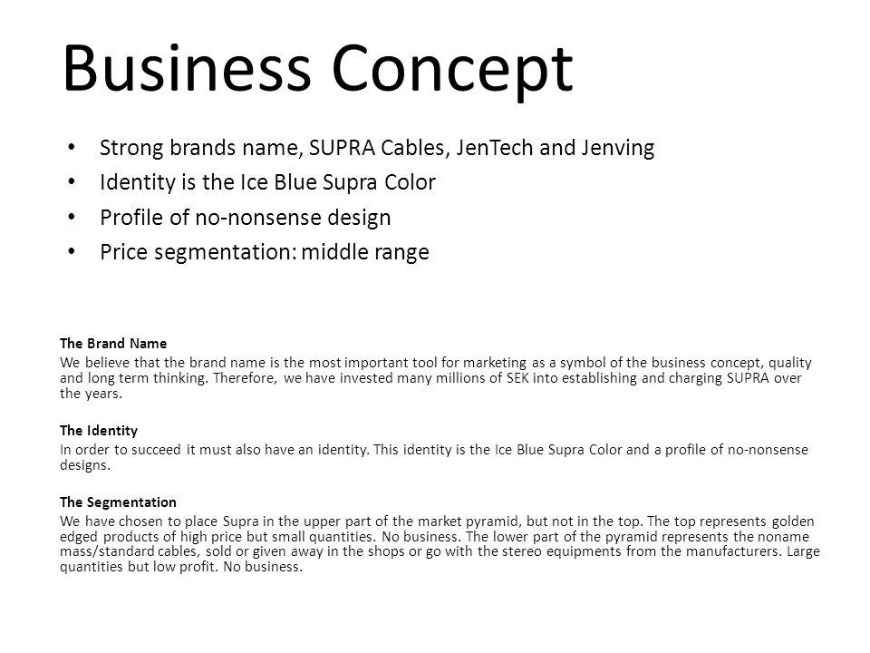 Business Concept Strong brands name, SUPRA Cables, JenTech and Jenving