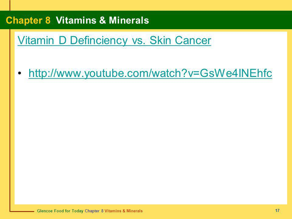 Vitamin D Definciency vs. Skin Cancer