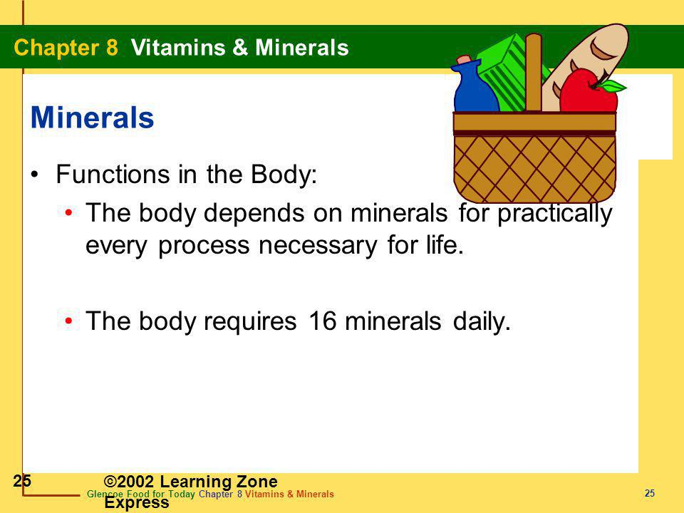 Minerals Functions in the Body: