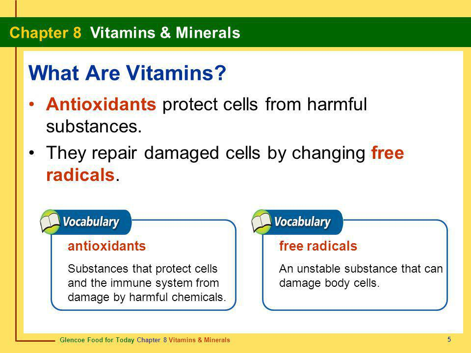 What Are Vitamins Antioxidants protect cells from harmful substances.