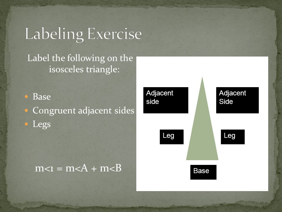 Label the following on the isosceles triangle: