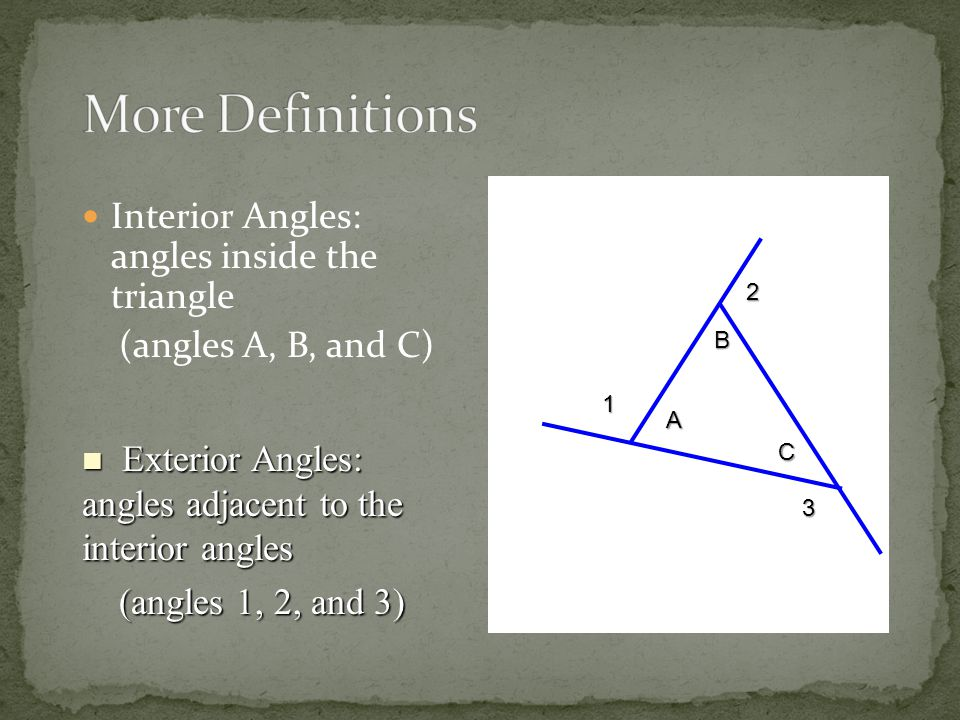 More Definitions Interior Angles: angles inside the triangle