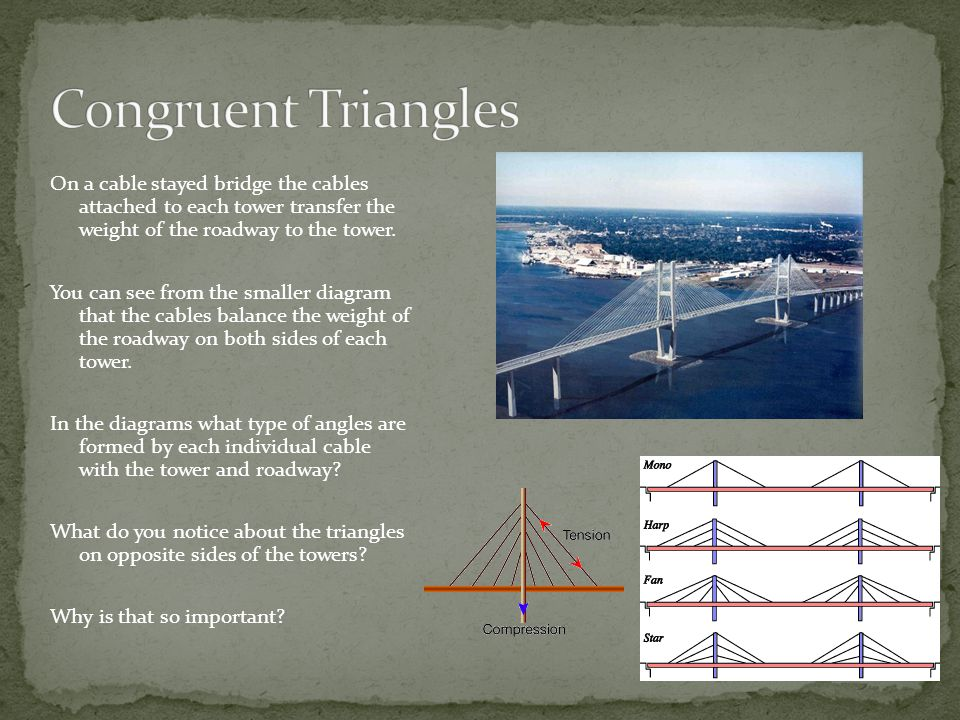 Congruent Triangles On a cable stayed bridge the cables attached to each tower transfer the weight of the roadway to the tower.