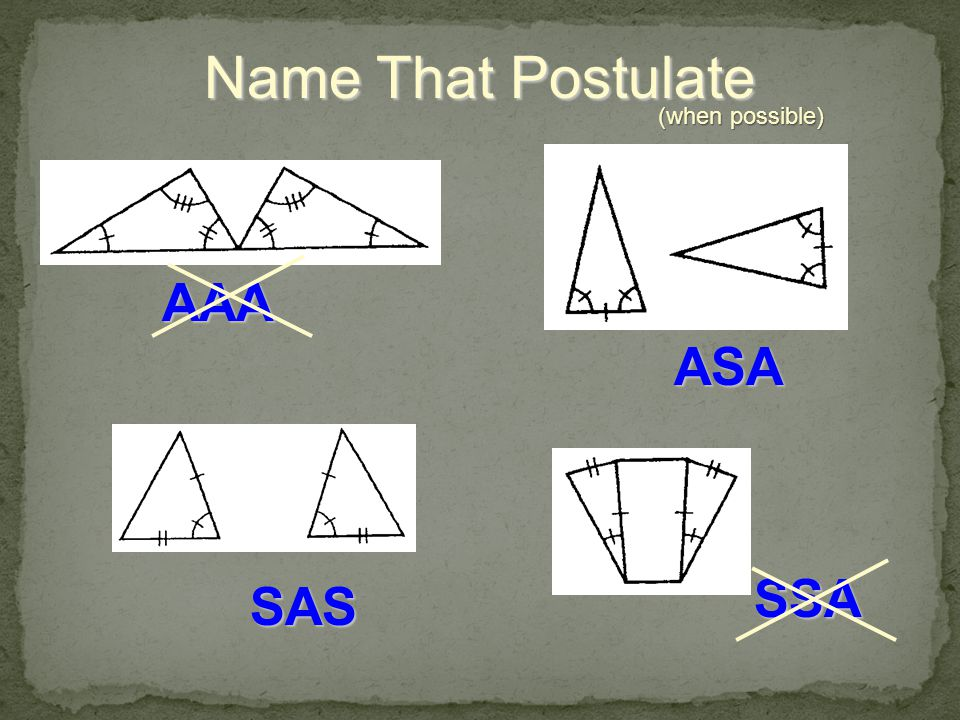 Name That Postulate (when possible) AAA ASA SSA SAS
