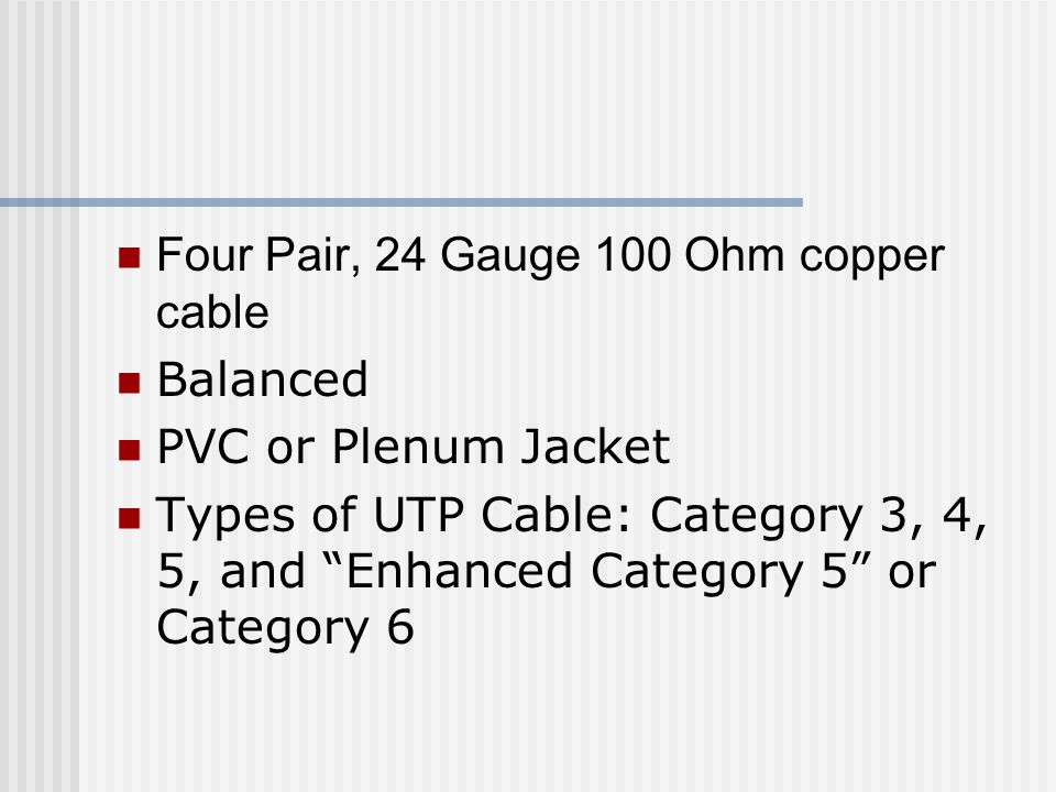 Four Pair, 24 Gauge 100 Ohm copper cable
