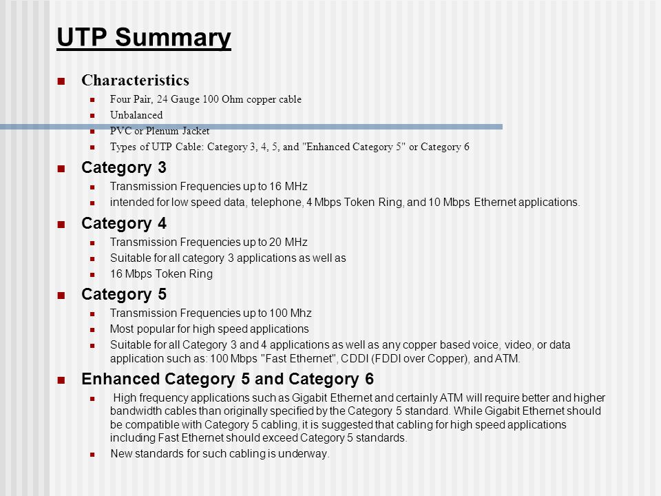 UTP Summary Characteristics Category 3 Category 4 Category 5