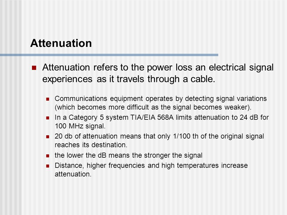 Attenuation Attenuation refers to the power loss an electrical signal experiences as it travels through a cable.