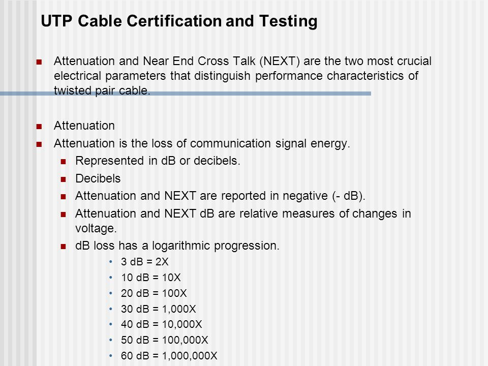 UTP Cable Certification and Testing