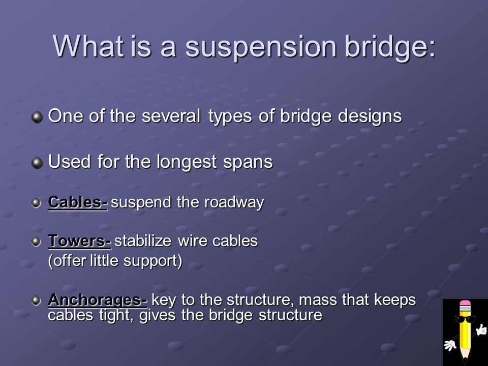 What is a suspension bridge: