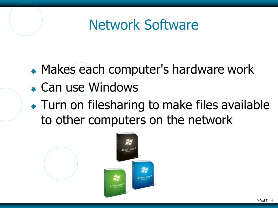 Network Software Makes each computer s hardware work Can use Windows