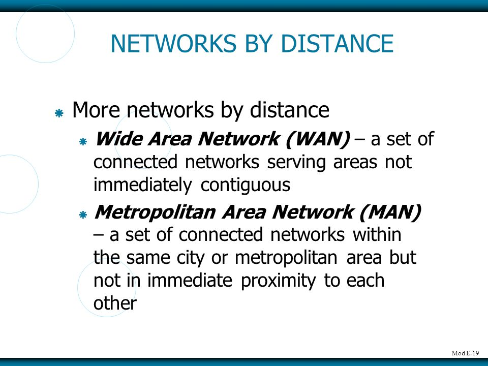 NETWORKS BY DISTANCE More networks by distance