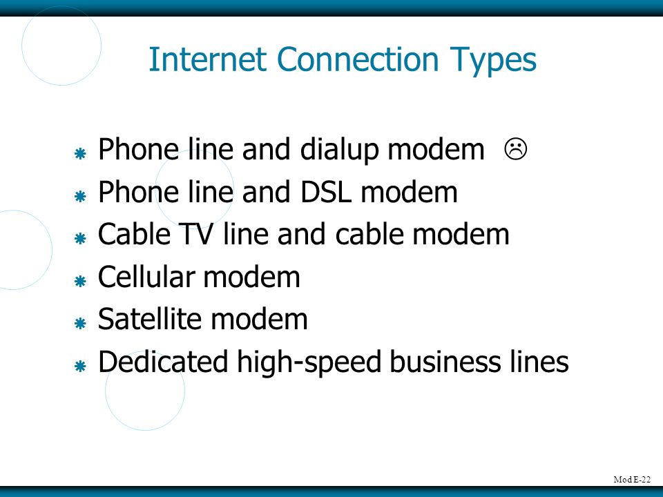 Internet Connection Types