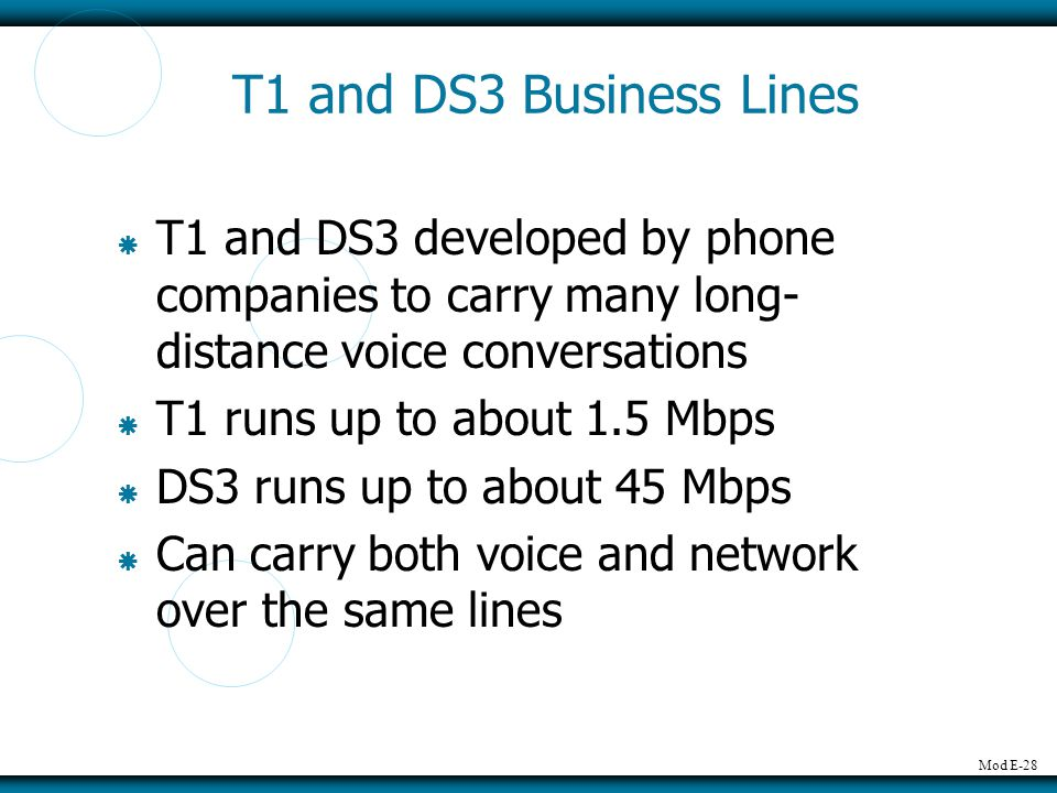 T1 and DS3 Business Lines T1 and DS3 developed by phone companies to carry many long-distance voice conversations.