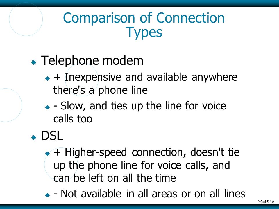 Comparison of Connection Types