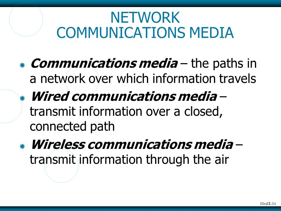 NETWORK COMMUNICATIONS MEDIA