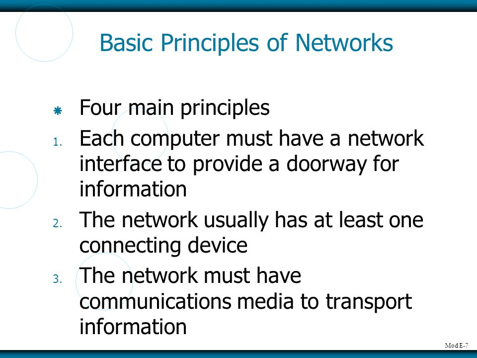 Basic Principles of Networks