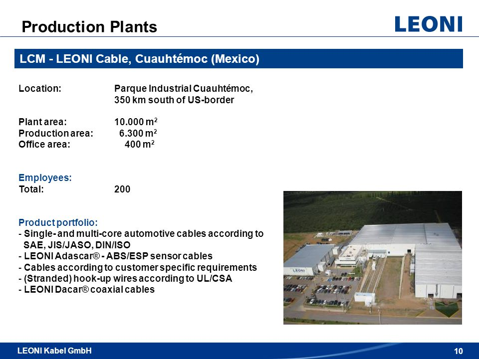 Production Plants LCM - LEONI Cable, Cuauhtémoc (Mexico)