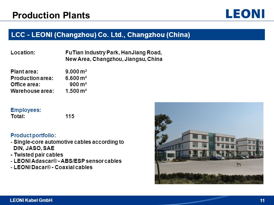 Production Plants LCC - LEONI (Changzhou) Co. Ltd., Changzhou (China)