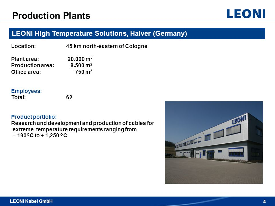 Production Plants LEONI High Temperature Solutions, Halver (Germany)