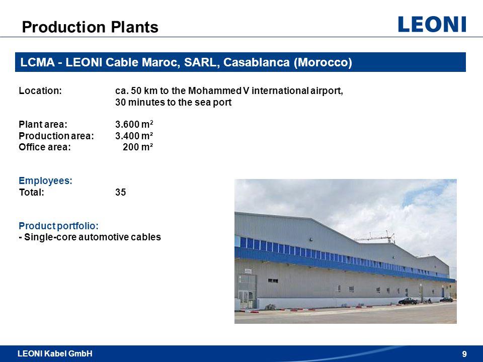 Production Plants LCMA - LEONI Cable Maroc, SARL, Casablanca (Morocco)