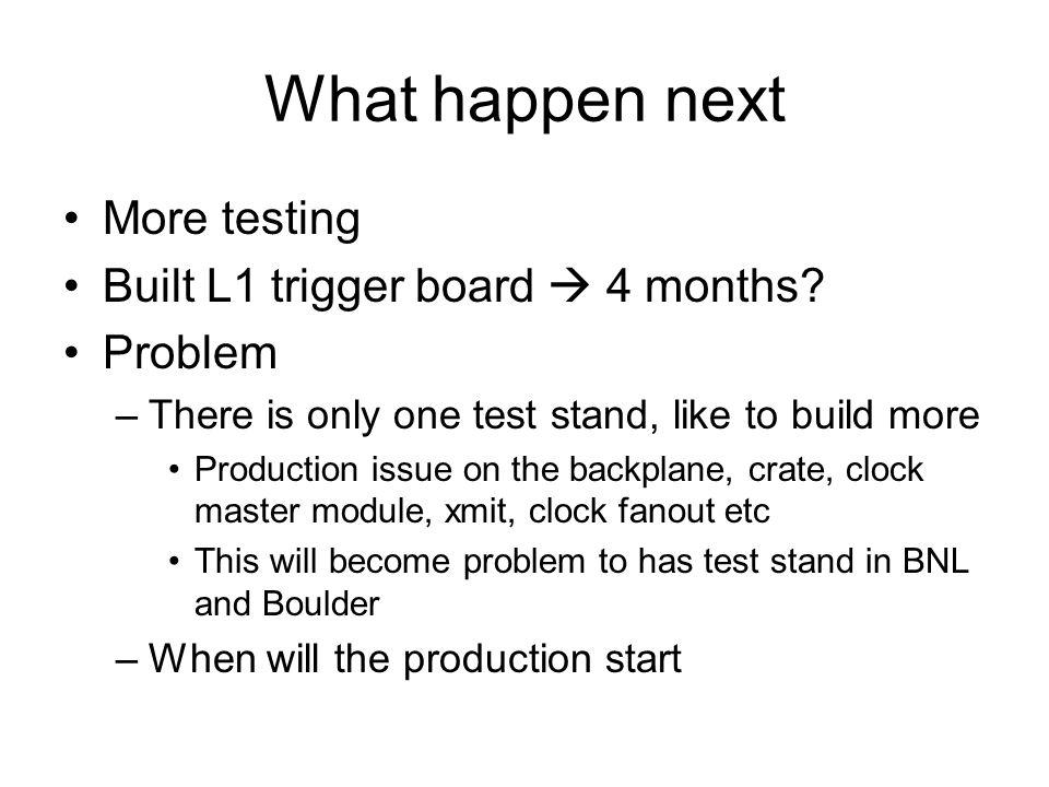What happen next More testing Built L1 trigger board  4 months