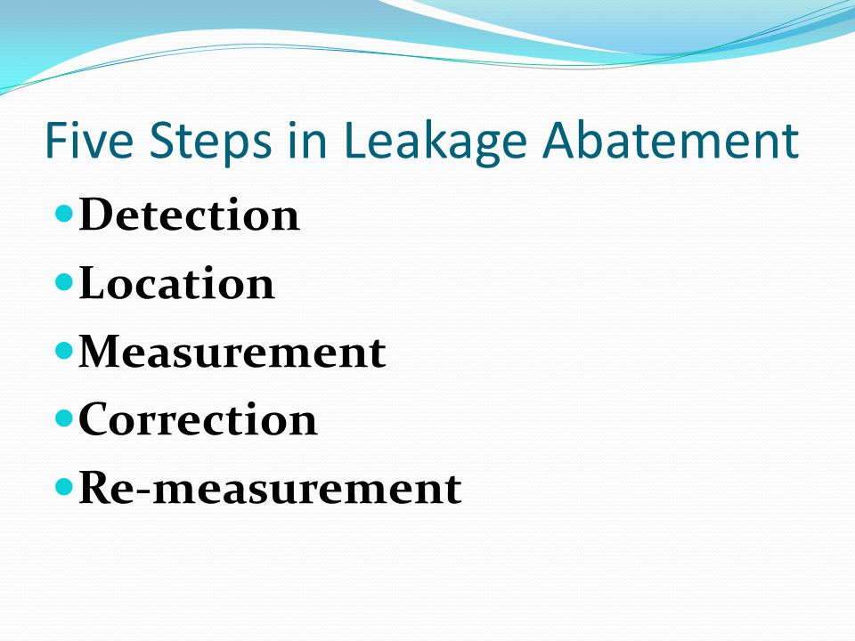 Five Steps in Leakage Abatement