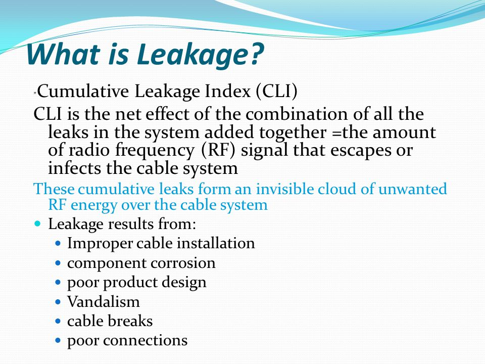 What is Leakage *Cumulative Leakage Index (CLI)