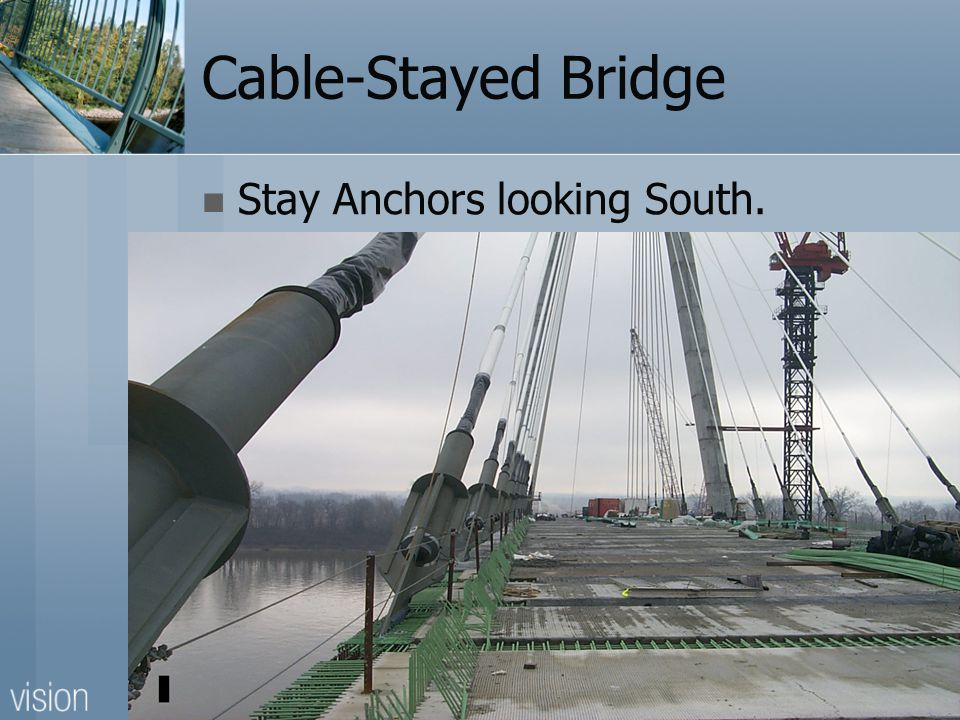 Cable-Stayed Bridge Stay Anchors looking South.