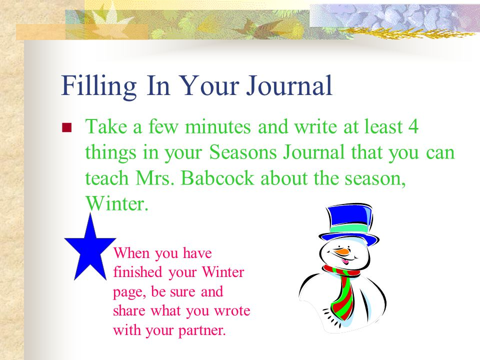 Filling In Your Journal