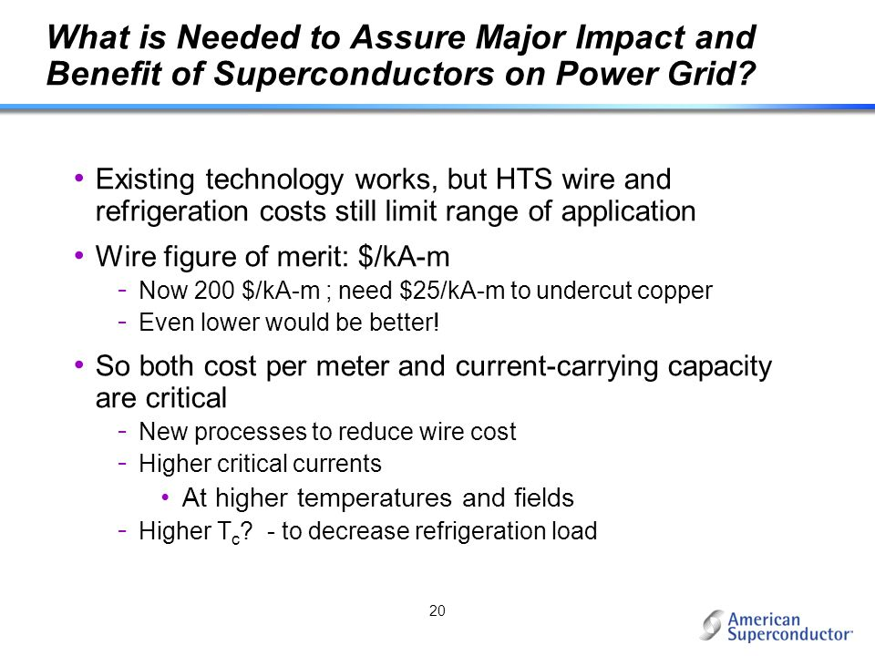 What is Needed to Assure Major Impact and Benefit of Superconductors on Power Grid