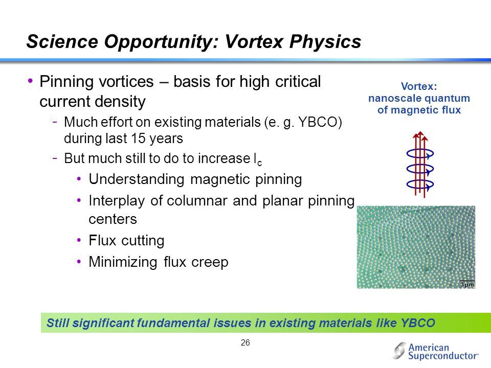 Science Opportunity: Vortex Physics