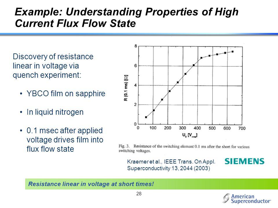 Example: Understanding Properties of High Current Flux Flow State